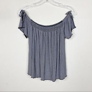American Eagle Soft & Sexy Stripe Off Shoulder Top